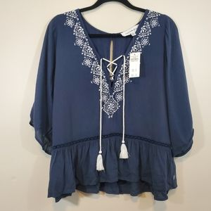 Abercrombie & Fitch Embroidered  Peasant top Sz L